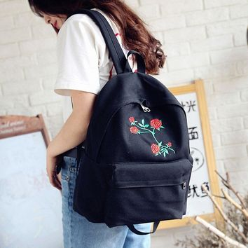Women Girls Canvas Embroidery Flowers Student School Bag Travel Backpack Bag US