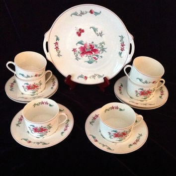 Vintage Limoges - Elegant Bernardaud Lhassa Set of 6 tea cups, saucers & cake plate - Birthday/Wedding/Engagement/Shower/Housewarming Gift