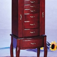 Queen Anne Style Jewelry Armoire in Mahogany Wood Finish with Eight Deluxe Drawers, Two Side Doors, and Mirror