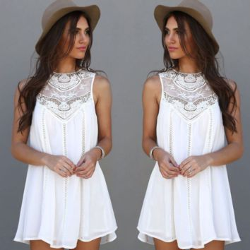 Sleeveless Lace Embroidered Beach Dress