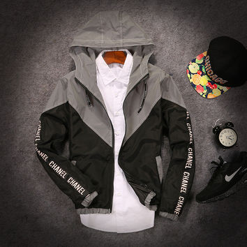 Autumn Hats Slim Korean Mosaic Men Casual Jacket [6541225411]