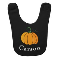 Personalized Name Halloween Pumpkin Baby Bib