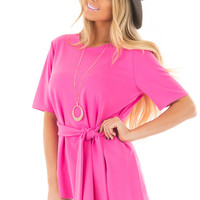 Hot Pink Asymmetrical Top with Waist Tie