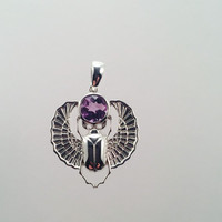 Sterling Silver Scarab Pendant with Amethyst Gem