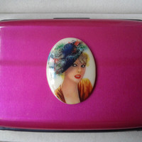 Lady cameo dark pink Credit Card Holder, Aluminum Credit Card Wallet