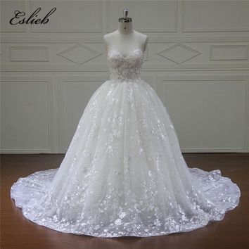Eslieb New Design Custom made Ball Gown Lace Wedding Dresses 2018 Zipper Back Sexy Vintage Wedding Gowns Sweetheart Bridal dress