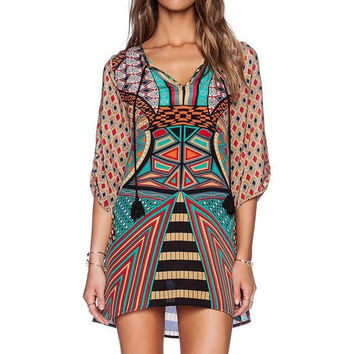 Women's Fashion V-neck One Piece Dress [4917896132]