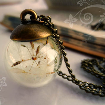 Dandelion necklace Vintage Make A Wish Seed charm glass Alice in Wonderland Lucky orb beadwork bronze  brass Flower retro Sun Botanical
