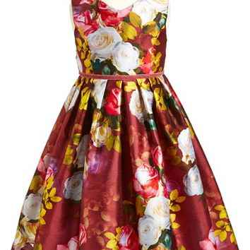 Girl's Pippa & Julie 'Autumn Floral' Shantung Dress,