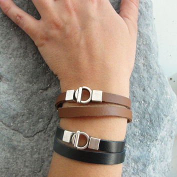 Double Leather Bracelet Unisex bracelet Black or Brown Bracelet Jewelry Leather and Metal