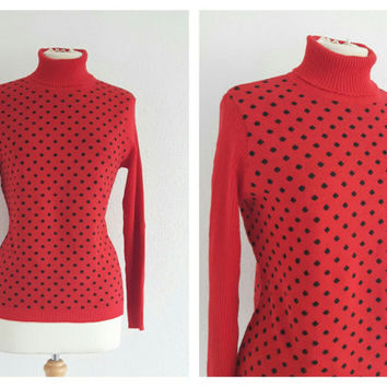 Vintage St Michael Polka Dot Polo Neck Sweater - Red & Black Turtleneck Jumper