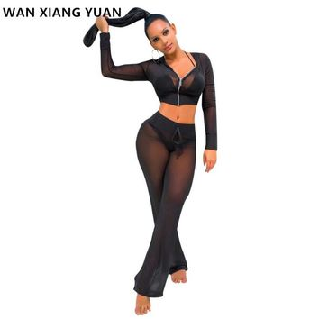 WAN XIANG YUAN 2017 New Fashion 2 Piece Clothing Set Women Crop Top And Pants Suit ladies Sexy Leisure Two Piece Tracksuit 118
