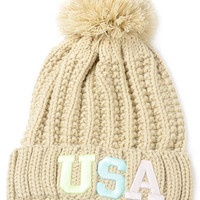 "Cream ""USA"" Ball Top Knit Beanie"