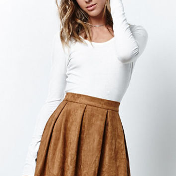 Honey Punch Faux Suede Box Pleat Skirt at PacSun.com