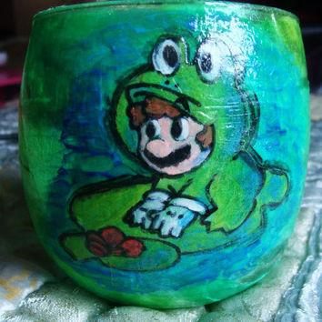 Frog Mario Decoupaged Glass Candle Holder by PixelPastel on Etsy