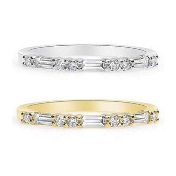 Luxinelle Ring of Baguette and Round Diamonds - Rose, Yellow and White Gold 14K Wedding Band by Luxinelle® Jewelry