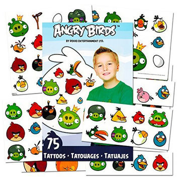 Angry Birds Tattoos and Stickers Party Favor Pack (75 Temporary Tattoos and Over 200 Stickers)