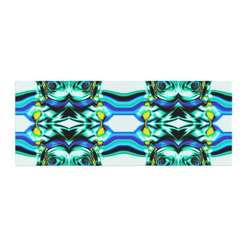 "Dawid Roc ""Inspired By Psychedelic Art 5"" Blue Abstract Bed Runner"