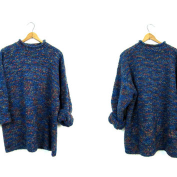 90s Hand Knit Nubby Sweater Colorful Blue Markled Knit Fuzzy Pullover Long Slouchy Sweater Speckled Soft Cosy Fall Sweater Boho Womens Large