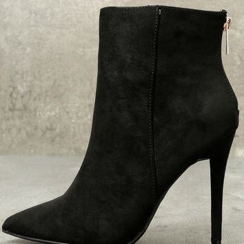 Ashlyn Black Suede Pointed Toe Booties