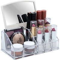 Sorbus Acrylic Cosmetic Makeup Organizer with Mirror – Beauty, Skincare, Jewelry Storage Case with Removable Mirror - Compact Design for Bathroom, Dresser, Vanity (Clear)
