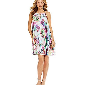 Maggy London Floral Pleated Chiffon Trapeze Dress | Dillards.com
