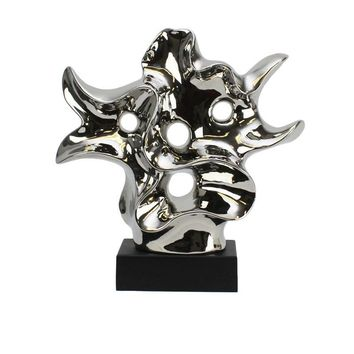 Artistic Ceramic Abstract Sculpture, Silver
