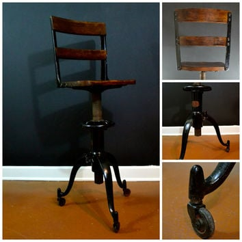 EXCELLENT CONDITION Vintage  Adjustable Table Co. Chair, Solid Wood Antique Desk Chair, Industrial Cast Iron Chair, Industrial Stool