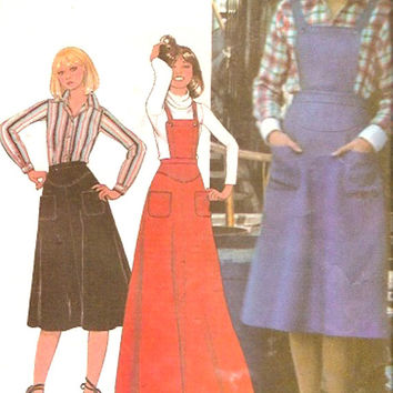 70s overalls dress long or short skirt jumper shirt vintage sewing pattern McCalls 5632 Hippie Hipster Gardening Retro pattern Bust 38