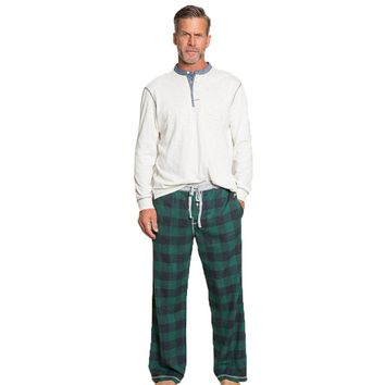 Melange Buffalo Check Flannel Pant in Green by True Grit