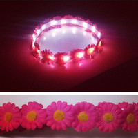 LED valentines day flower crown Crush hot pink on SALE