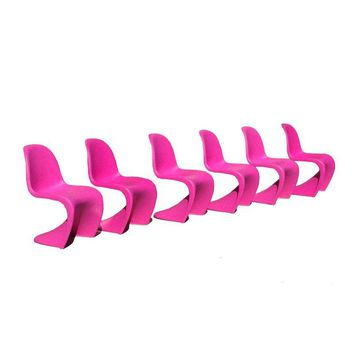 Pre-owned Fuchsia Panton S Chairs - Set of 6