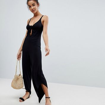 ASOS Cami Jersey Jumpsuit with Bunny Tie Detail at asos.com