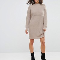 ASOS PETITE Chunky Knit Dress In Rib With High Neck at asos.com