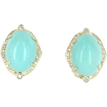 Egg Shell Blue Turquoise Diamond Vintage Earrings 14 Karat Gold Estate Fine Jewelry