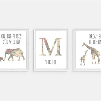 Elephant Nursery Art, Elephant Nursery Decor, Personalized Nursery Art, Dream Big, Giraffe Art, Set of 3, Nursery Initials, Gender Neutral