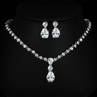 Noble Rhinestoned Waterdrop Necklace and Earrings