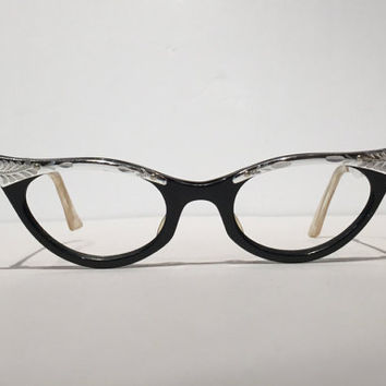 Vintage Black Silver Combination Cateye Glasses Frames, Aluminum Etched and Black Cateye Eyeglasses Sunglasses, Rockabilly Pin Up Hipster