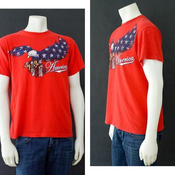 Vintage Graphic Tee, Red America T shirt,  American Flag T Shirt, Unisex T Shirt, 80s Classic T Shirt, Distressed Graphic Shirt, Bald Eagle