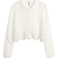 H&M - Short Chiffon Blouse - White - Ladies