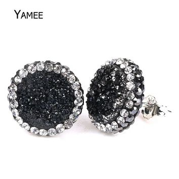 Bijoux Femme 2017 Minimalist Black Gem Stone Druzy Earrings for Women 925s Titanium Natural Crystal Aura Charm Druzy Drusy Studs