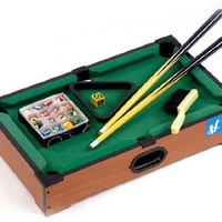 "21"" Mini Tabletop Pool Table Wood Billiards Set w/ Accessories by Kole Imports"