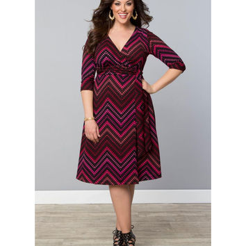 Plus Size Pink Chevron All Work and Play Wrap Dress