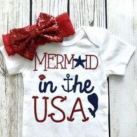 Mermaid In The USA Baby Girl Bodysuit