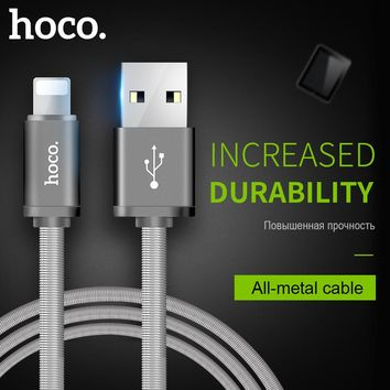 HOCO Metal Spring Charging USB Cable for Apple Lightning iPhone iPad Charger Cord for Mobile Phone OTG Data Line Sync Wire