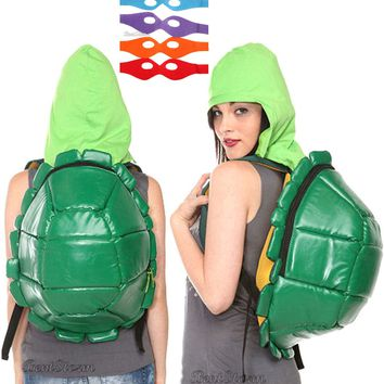 Licensed cool BIG Teenage Mutant Ninja Turtles Shell Hooded Backpack Hoodie & Changeable Masks