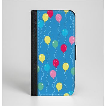 The Blue With Colorful Flying Balloons Ink-Fuzed Leather Folding Wallet Case for the iPhone 6/6s, 6/6s Plus, 5/5s and 5c