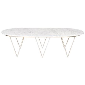 Worlds Away Surf Silver Leaf Coffee Table w. White Marble Top