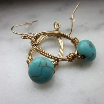 gold filled braided turquoise handcrafted earrings Native American earrings Southwestern jewlery wire wrapped turquoise pierced earring