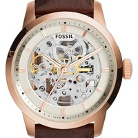 Men's Fossil 'Townsman' Automatic Leather Strap Watch, 40mm - Brown/ Rose Gold